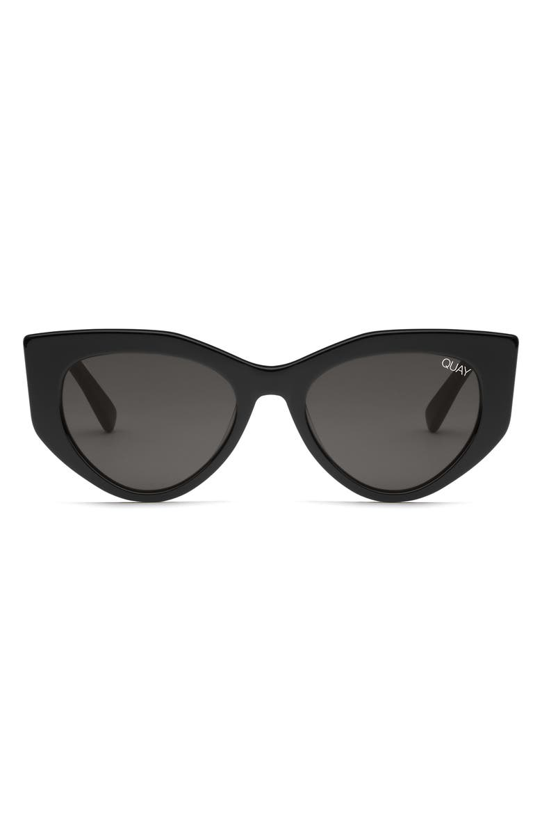 QUAY AUSTRALIA Persuasive 55mm Cat Eye Sunglasses, Main, color, BLACK / SMOKE