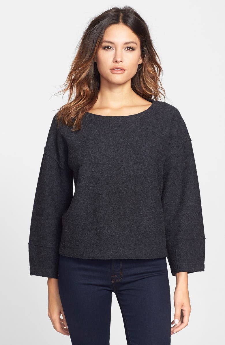 EILEEN FISHER Lightweight Boiled Merino Wool Crop Top, Main, color, 021