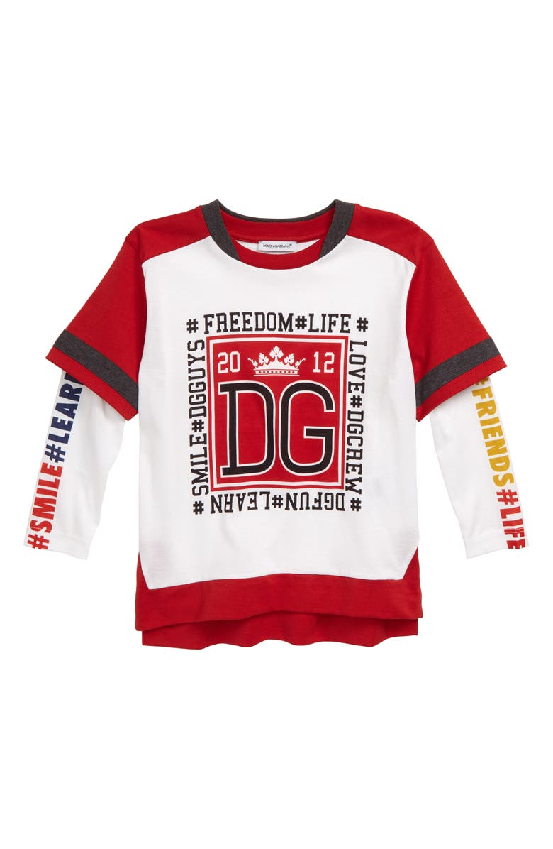 DOLCE&GABBANA Graphic T-Shirt, Main, color, WHITE PRINT