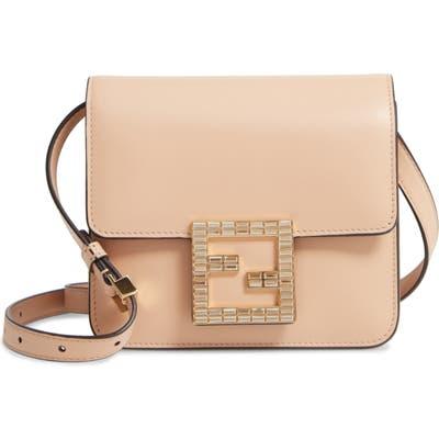 Fendi Fab Leather Crossbody Bag - Beige