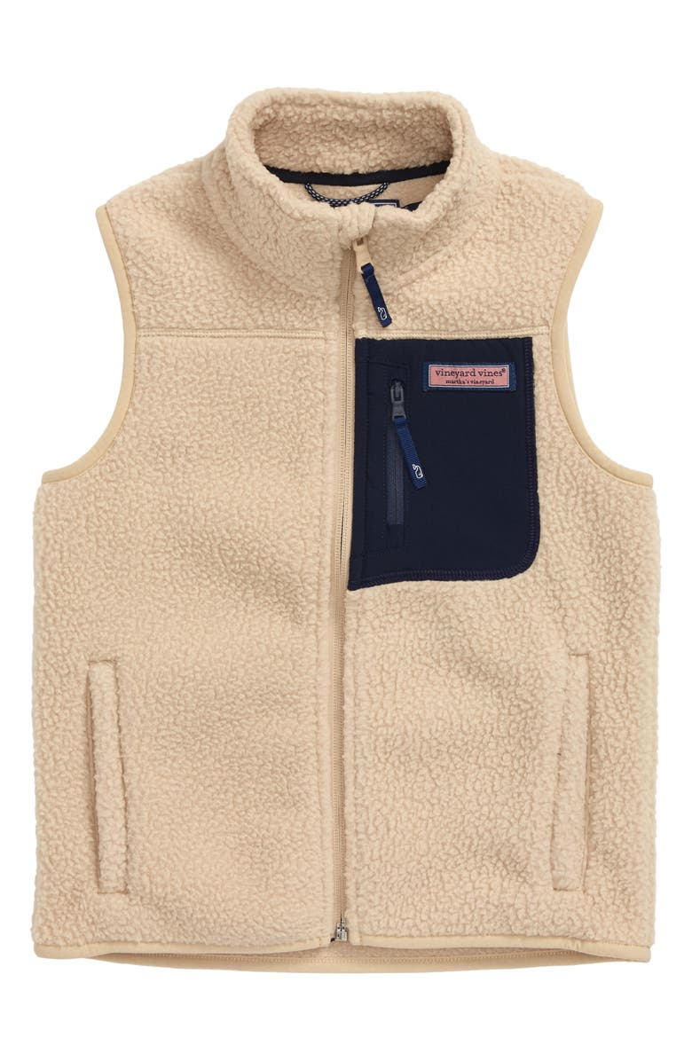 VINEYARD VINES Solid Fleece Vest, Main, color, CAMEL