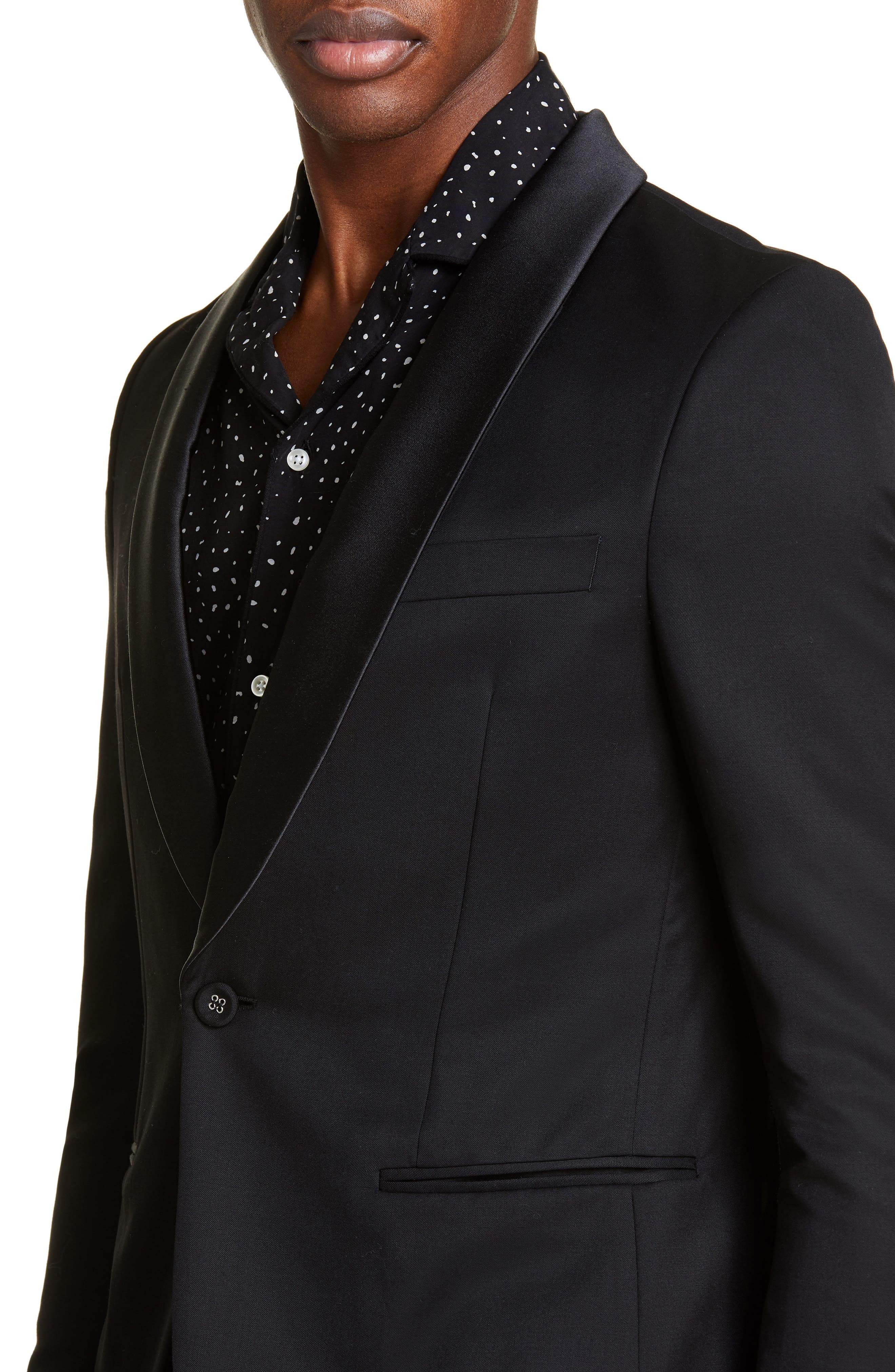 ,                             Wool Dinner Jacket,                             Alternate thumbnail 4, color,                             BLACK