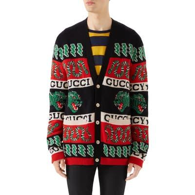 Gucci Logo Wool Cardigan, Black