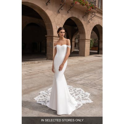 Pronovias Syrinx Off The Shoulder Lace Trim Crepe Trumpet Wedding Dress, Size IN STORE ONLY - Ivory