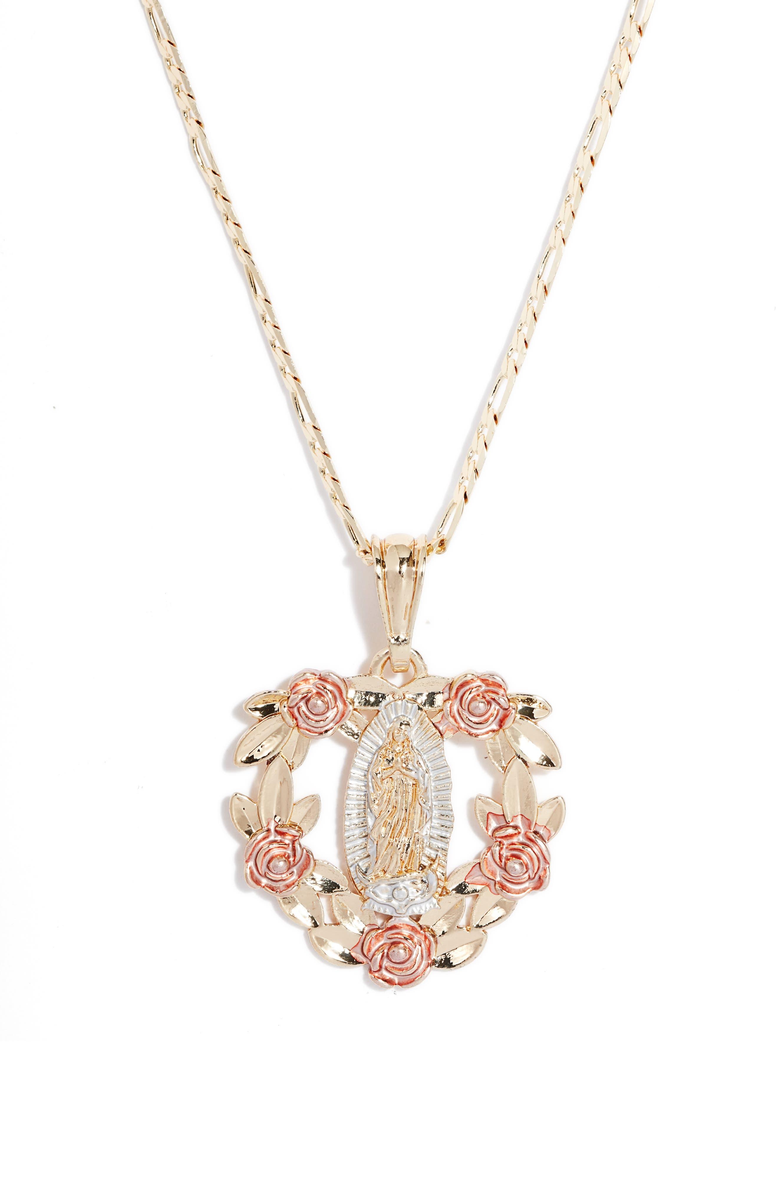 Virgin Mary Heart Bouquet Pendant Necklace