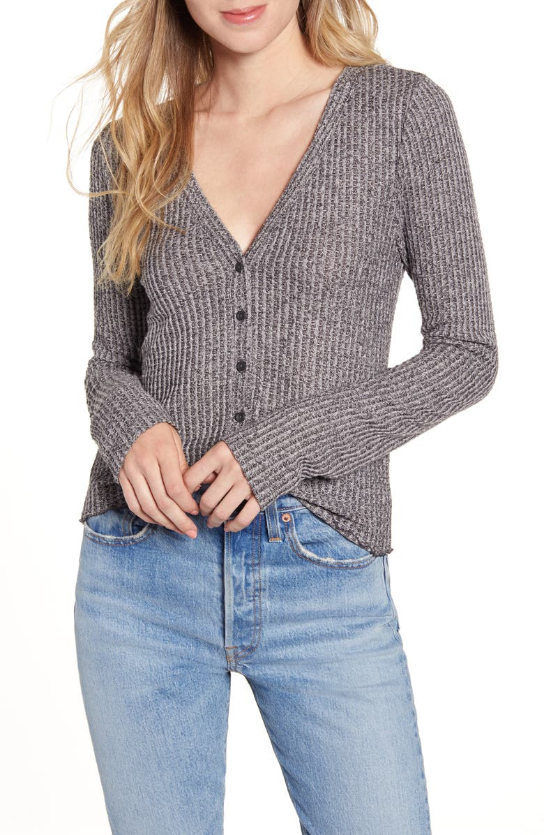 BP. Button Front Long Sleeve Waffle Knit Top, Main, color, GREY- BLACK