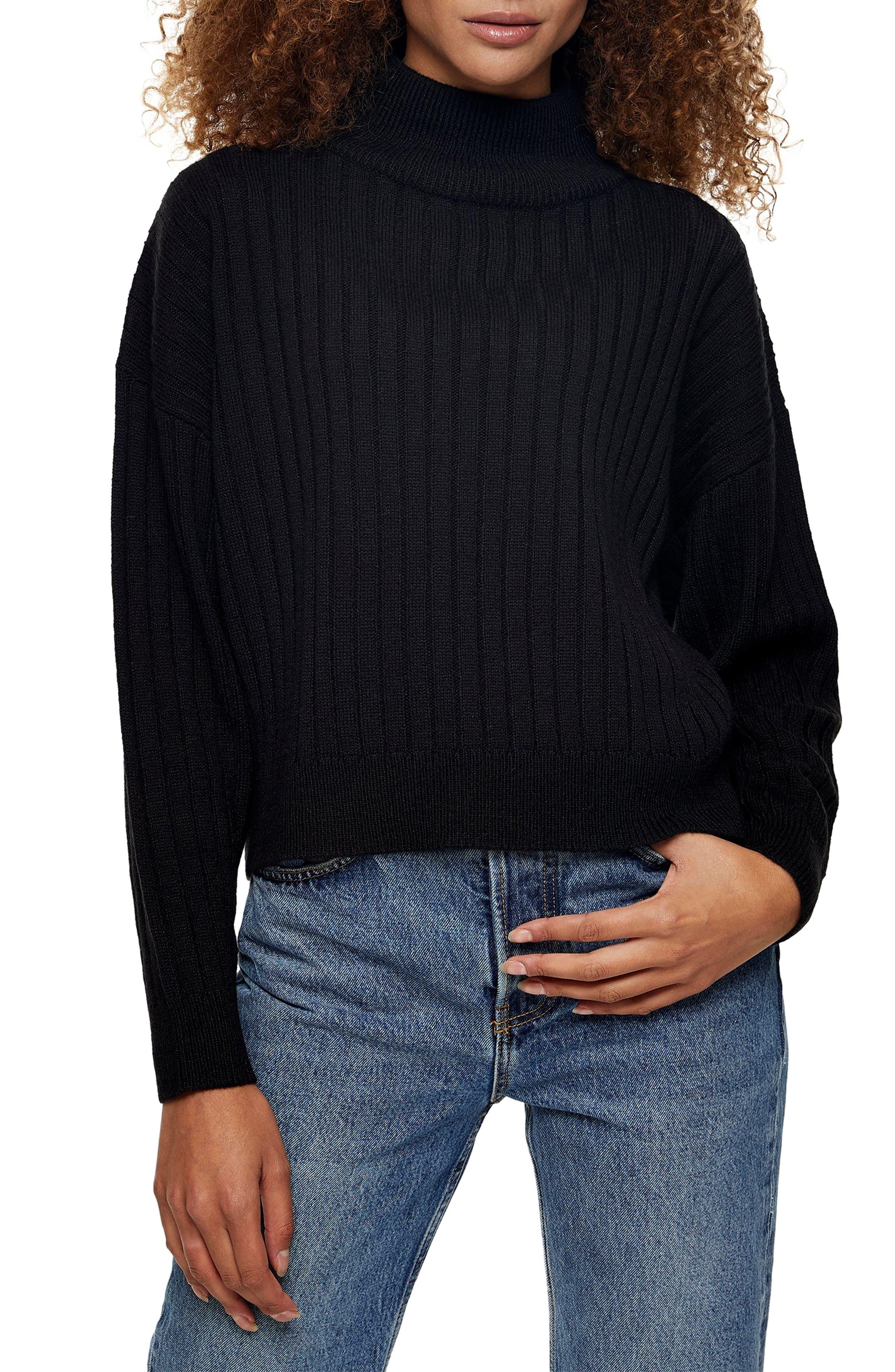 Image of TOPSHOP Rib Knit Turtleneck Sweater