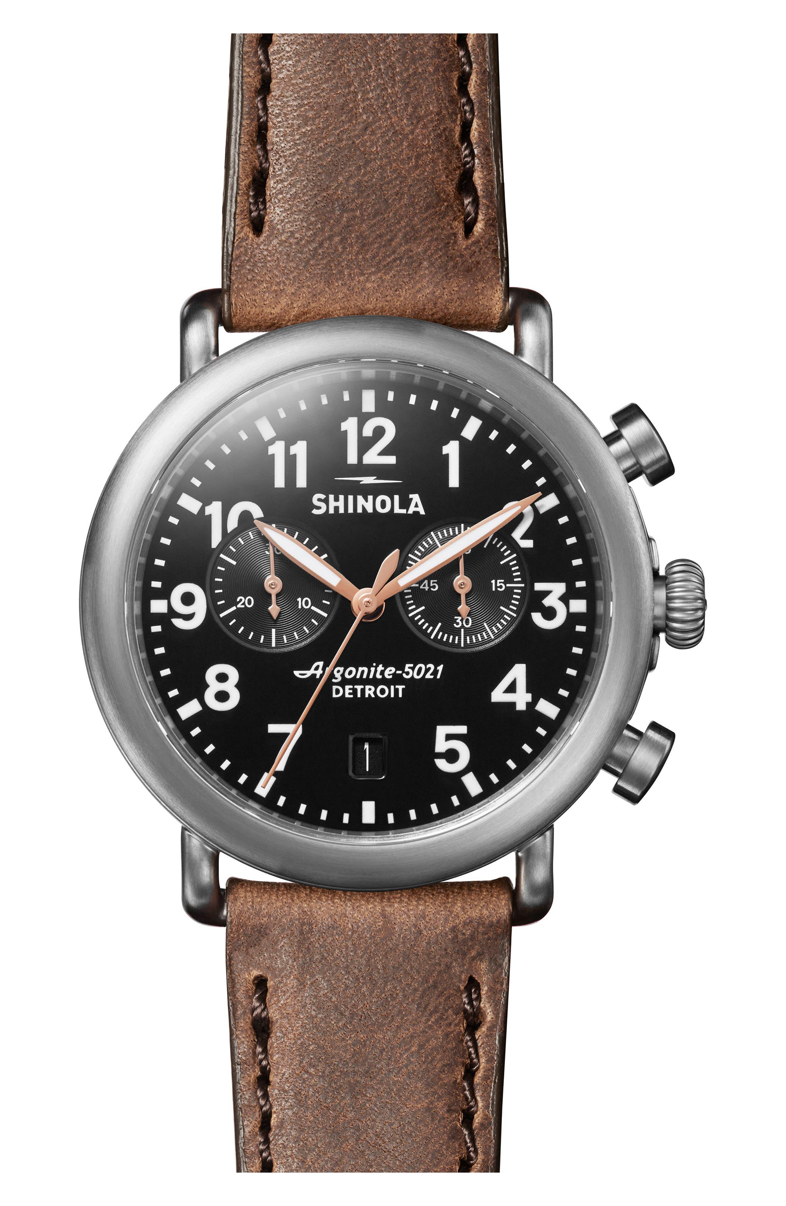 Shinola Men's Runwell Chronograph Leather Strap Watch In Blckglossy
