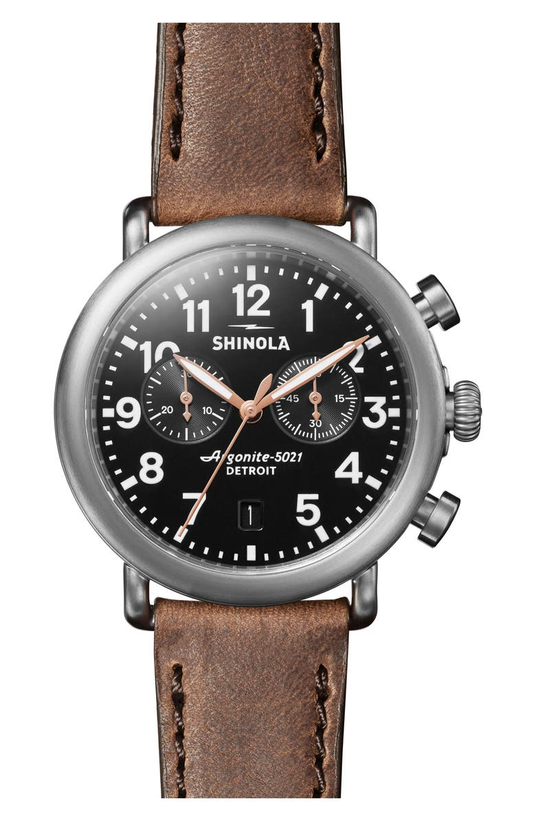 SHINOLA The Runwell Chronograph Leather Strap Watch, 41mm, Main, color, 210