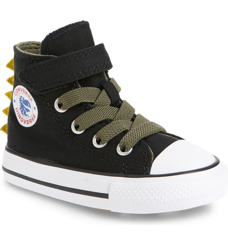CONVERSE Chuck Taylor<sup>®</sup> All Star<sup>®</sup> 1V Dinoverse High Top Sneaker, Main, color, BLACK/ FIELD SURPLUS/ WHITE