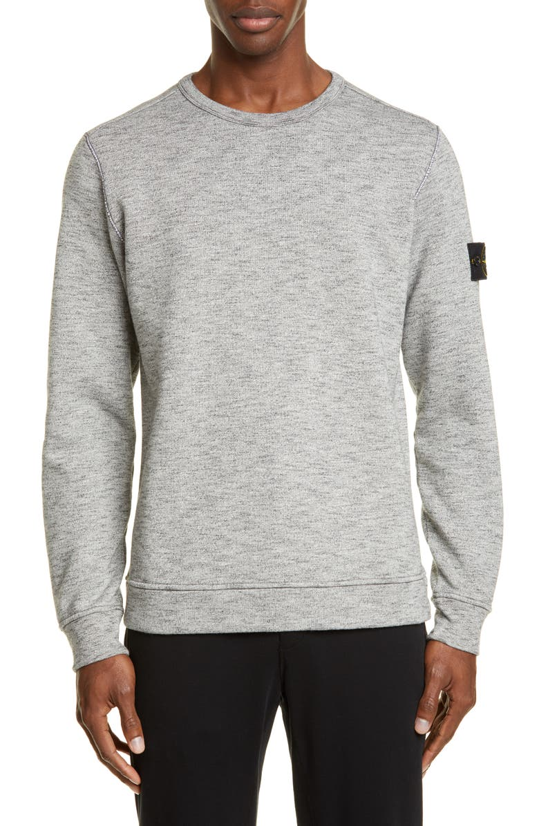 STONE ISLAND Mélange Fleece Crewneck Sweatshirt, Main, color, GREY