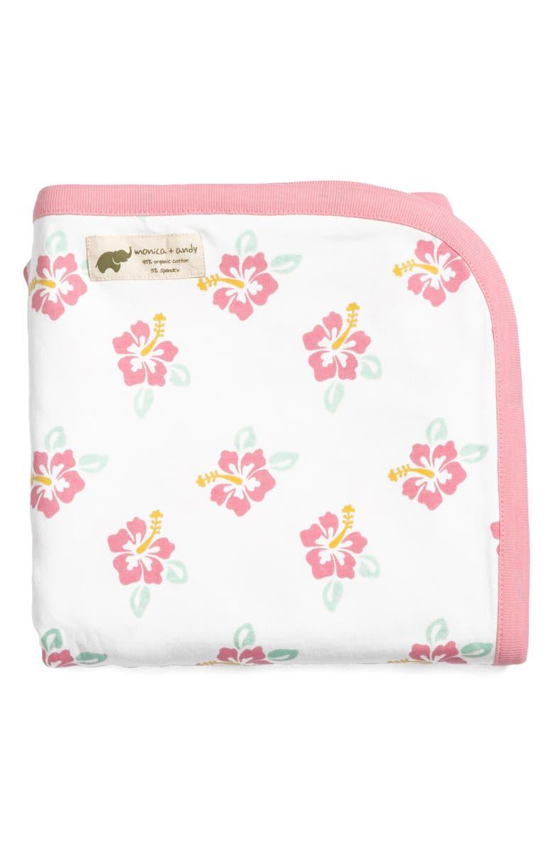 MONICA + ANDY Aloha Sunshine Stretch Organic Cotton Coming Home Blanket, Main, color, 100