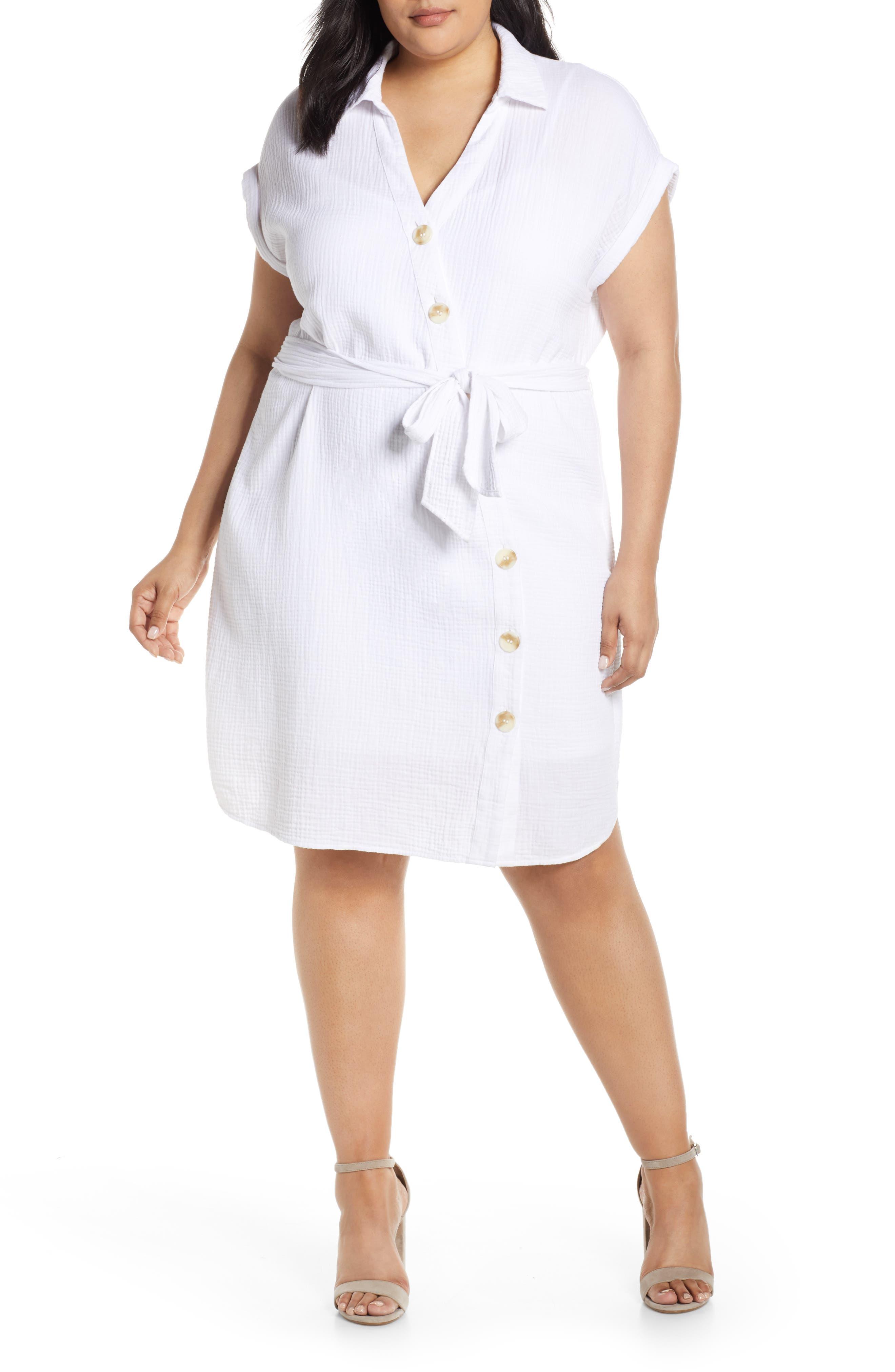 Asymmetrical Button Down Shirtdress, Main, color, 145 ULTRA WHITE