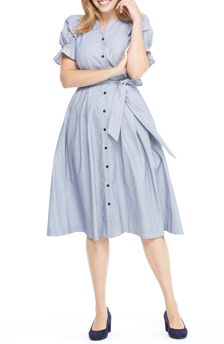 GAL MEETS GLAM COLLECTION Daisy Cotton Dobby Shirtdress, Main, color, 425