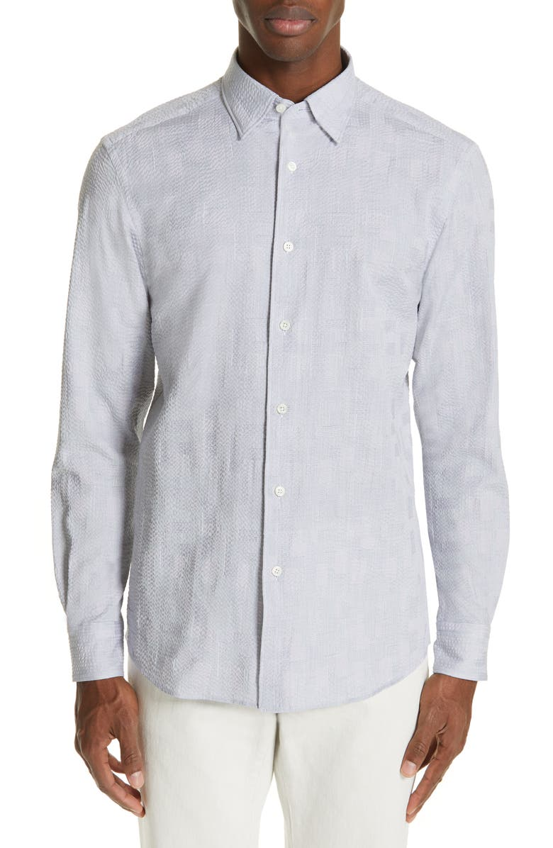 ERMENEGILDO ZEGNA Slim Fit Seersucker Shirt, Main, color, NAVY