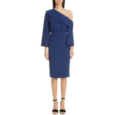 Badgley Mischka Asymmetrical Shoulder Long Sleeve Cocktail Dress, Blue