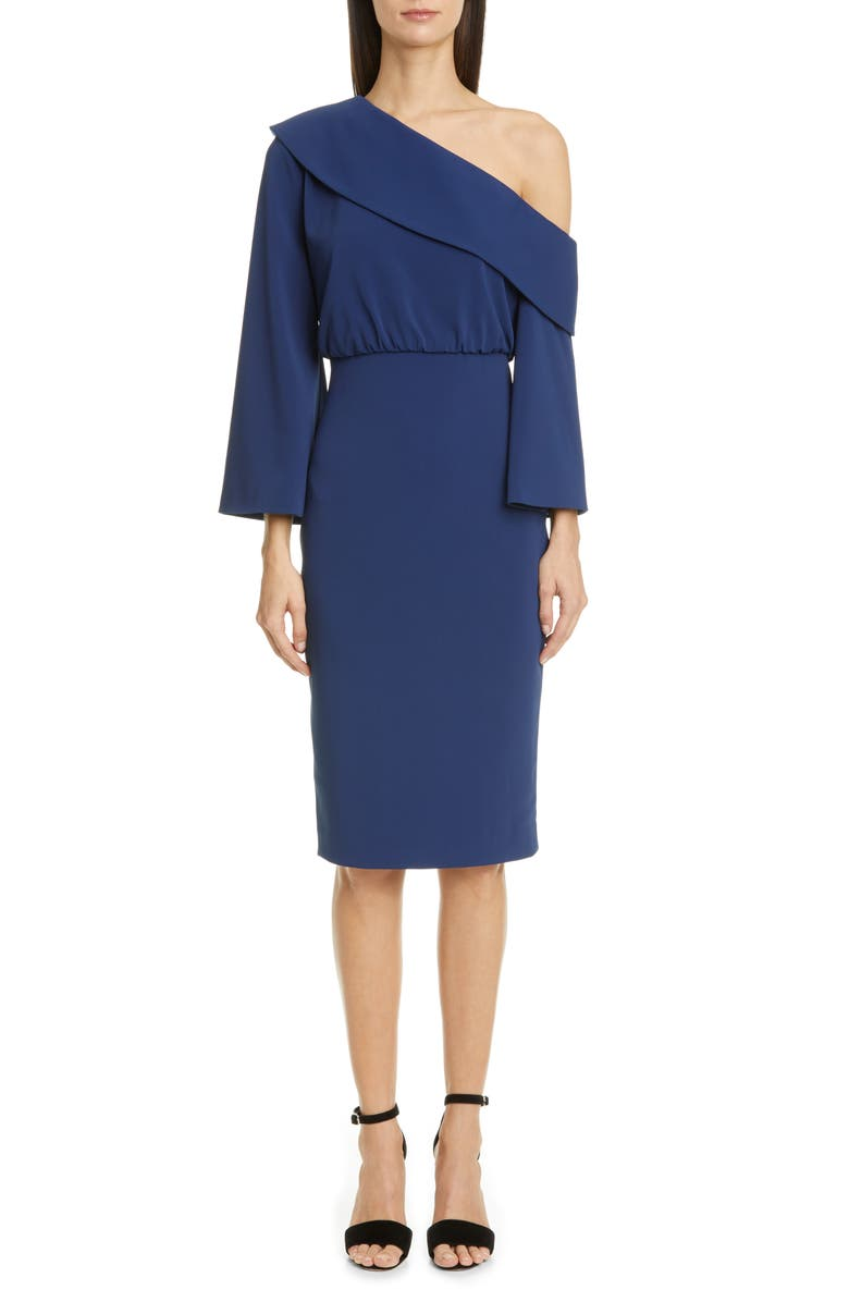 BADGLEY MISCHKA COLLECTION Badgley Mischka Asymmetrical Shoulder Long Sleeve Cocktail Dress, Main, color, MIDNIGHT