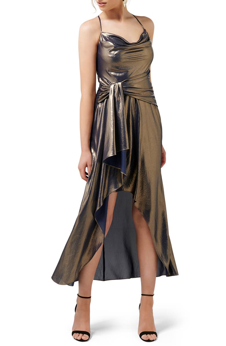 EVER NEW Charli Metallic Cowl Neck Maxi Dress, Main, color, GOLD