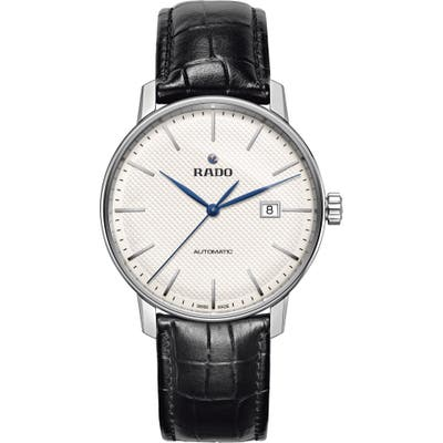 Rado Coupole Classic Automatic Embossed Leather Strap Watch, 41Mm