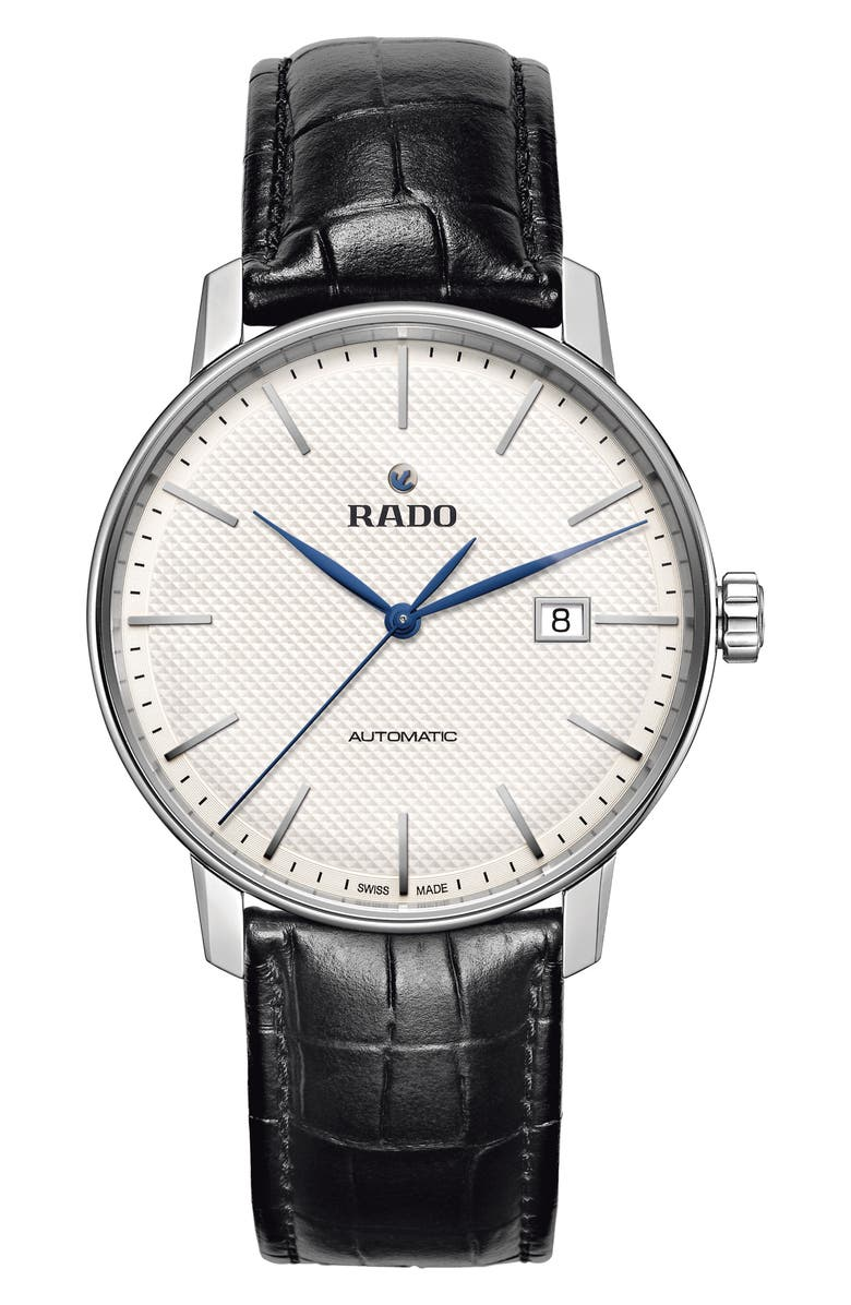 RADO Coupole Classic Automatic Embossed Leather Strap Watch, 41mm, Main, color, BLACK/ WHITE/ SILVER
