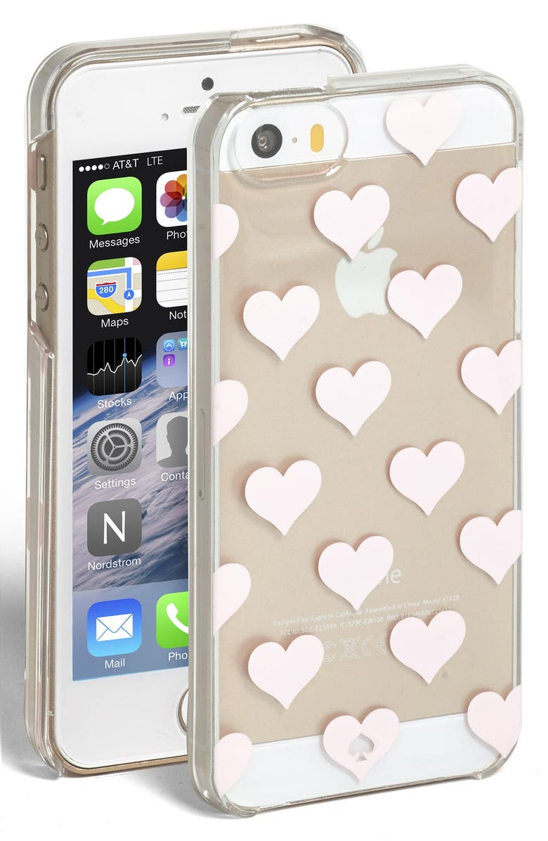 KATE SPADE NEW YORK 'clear hearts' iPhone 5 & 5s case, Main, color, MULTI