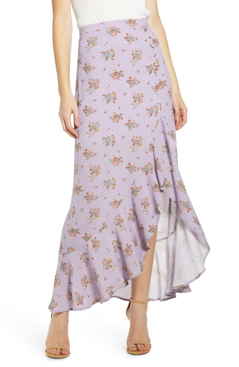 4SI3NNA Asymmetrical Ruffle Maxi Skirt, Main, color, 500
