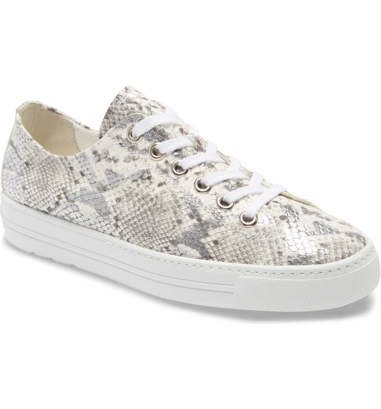 PAUL GREEN Ally Low Top Sneaker, Main, color, SILVER/ PEBBLE SNAKE PRINT
