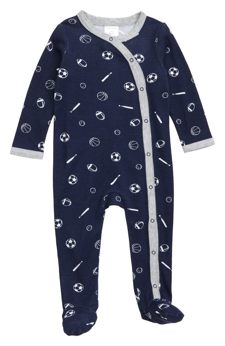 NORDSTROM BABY Print Footie, Main, color, NAVY PEACOAT SPORTS