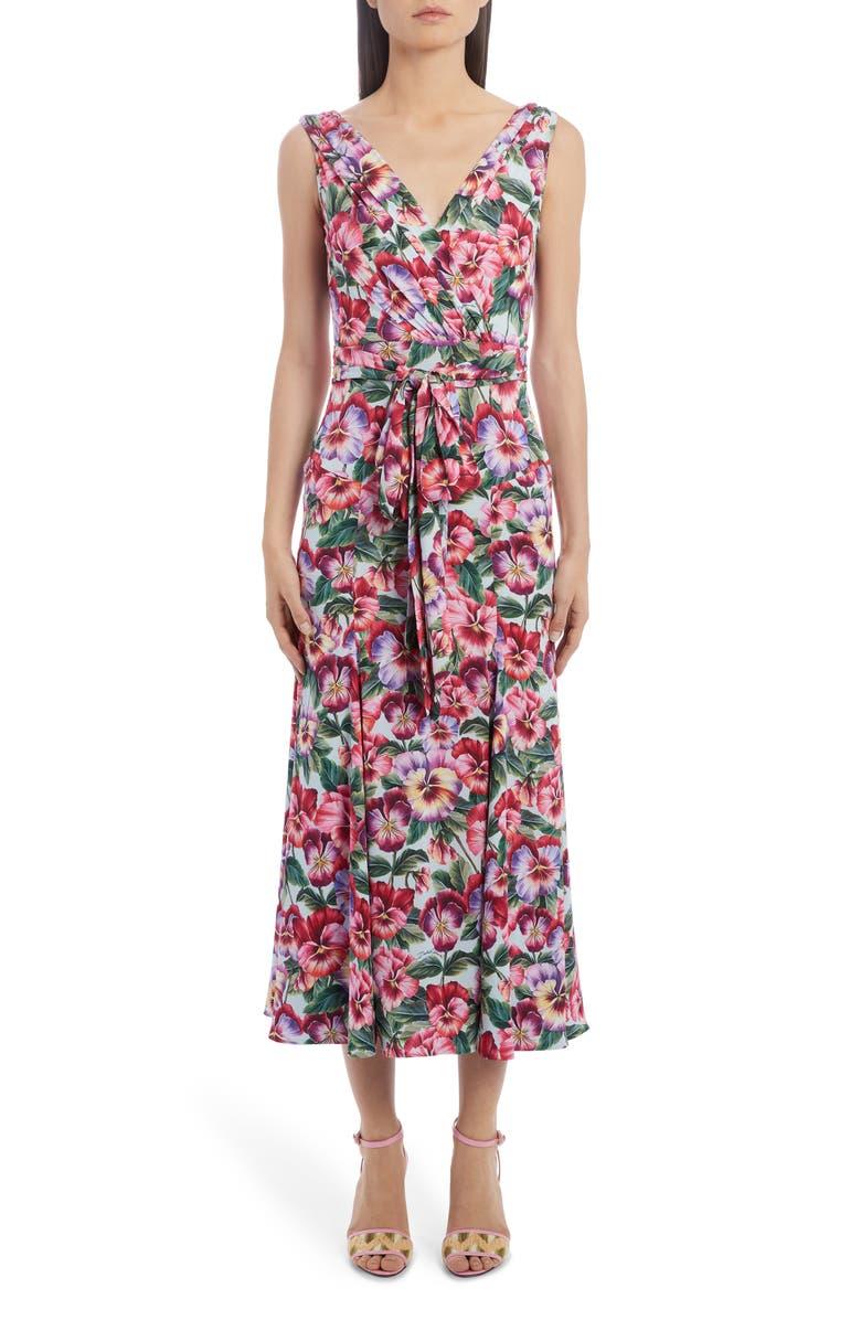DOLCE&GABBANA Floral Stretch Silk Charmeuse Midi Dress, Main, color, 650