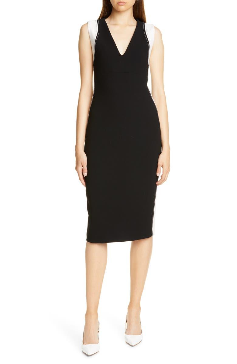JUDITH & CHARLES Avellino Sheath Dress, Main, color, BLACK/ OFF WHITE