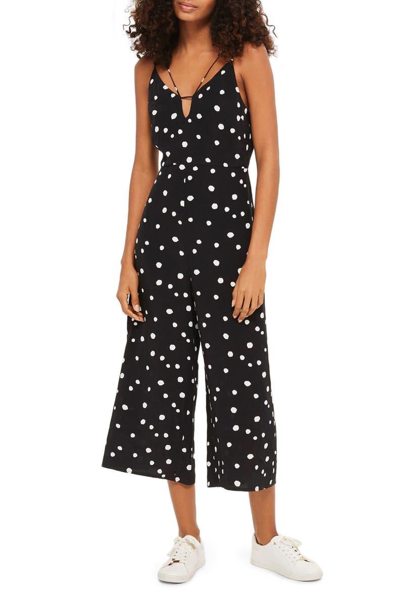 TOPSHOP Spot Strappy Culotte Jumpsuit, Main, color, 001