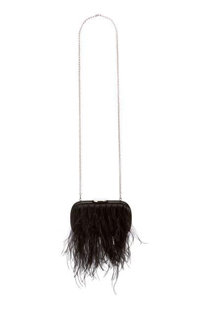 Giambattista Valli Feather Clutch In Black/ Nickel