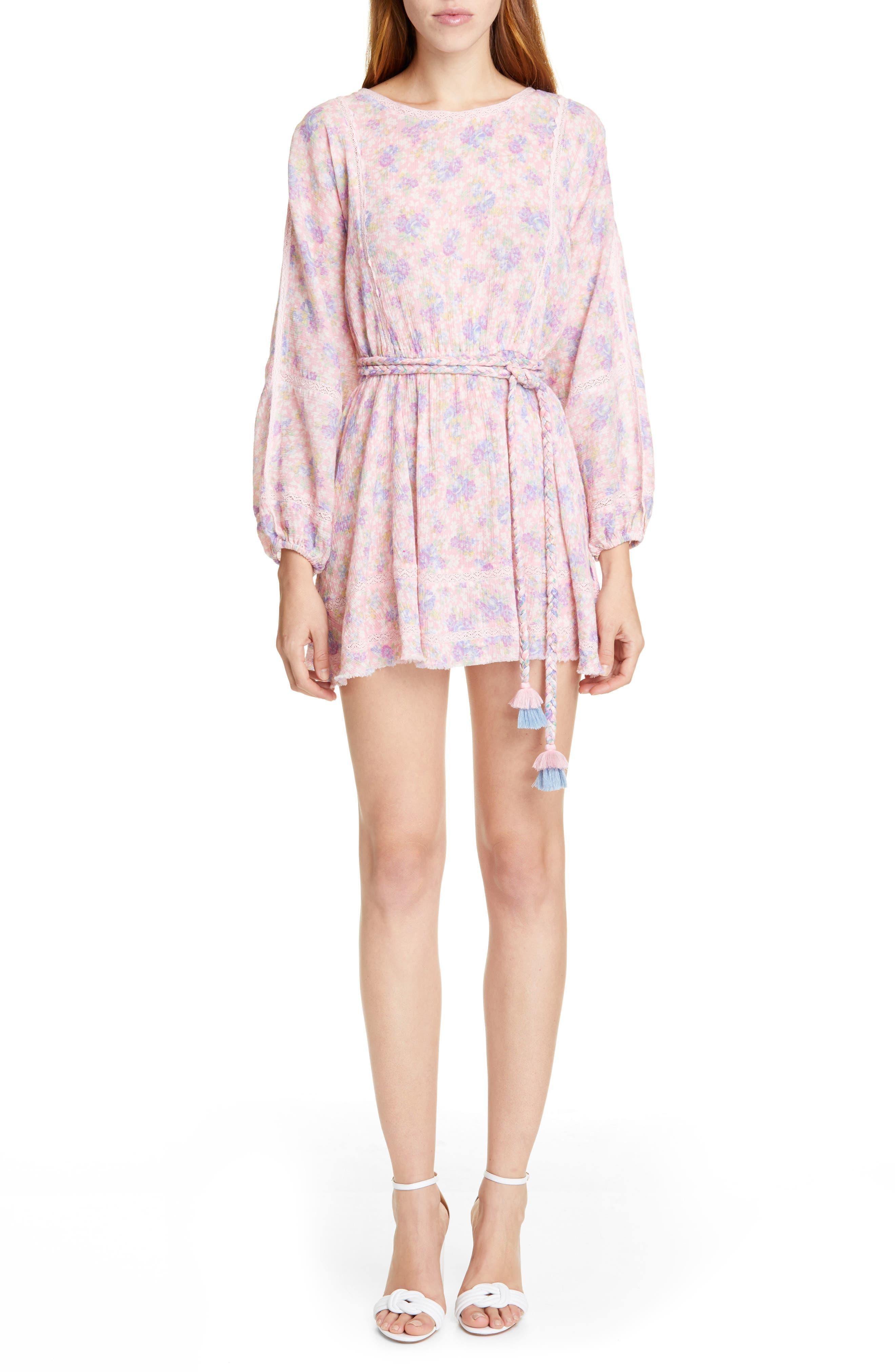 Loveshackfancy Noelle Long Sleeve Dress, Pink