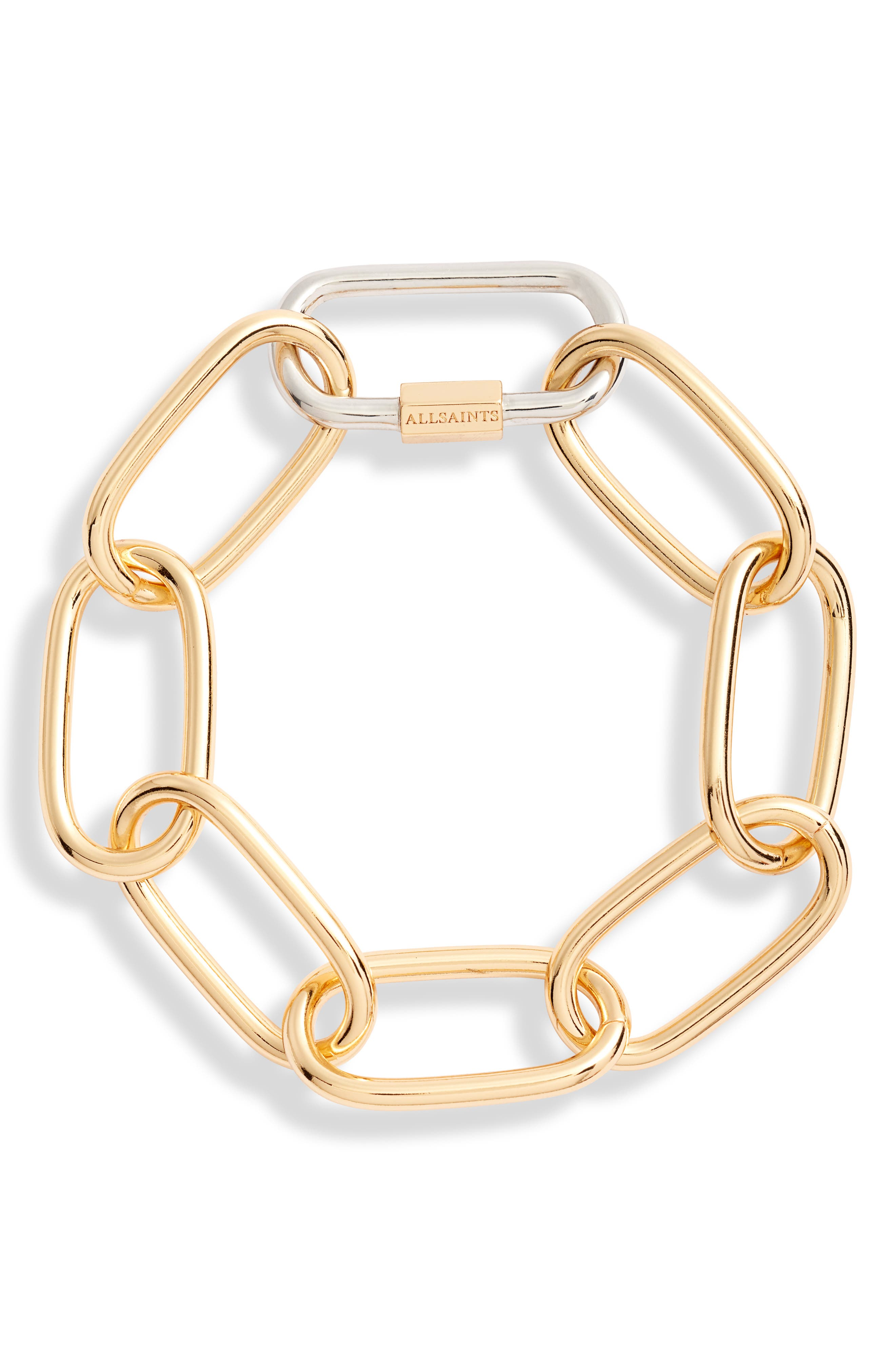 ,                             Carabiner Link Bracelet,                             Main thumbnail 1, color,                             SILVER/ GOLD