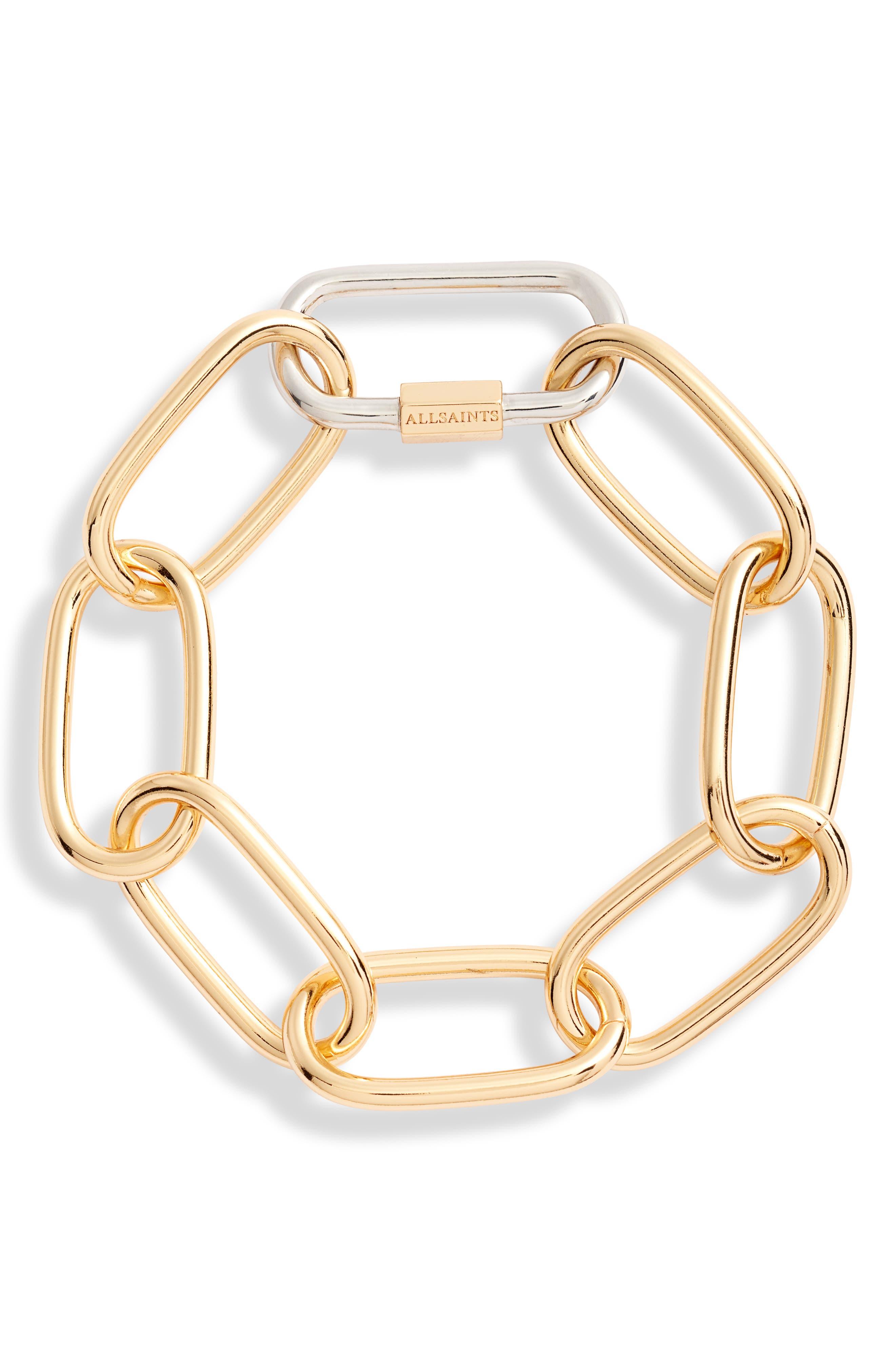 Carabiner Link Bracelet, Main, color, SILVER/ GOLD