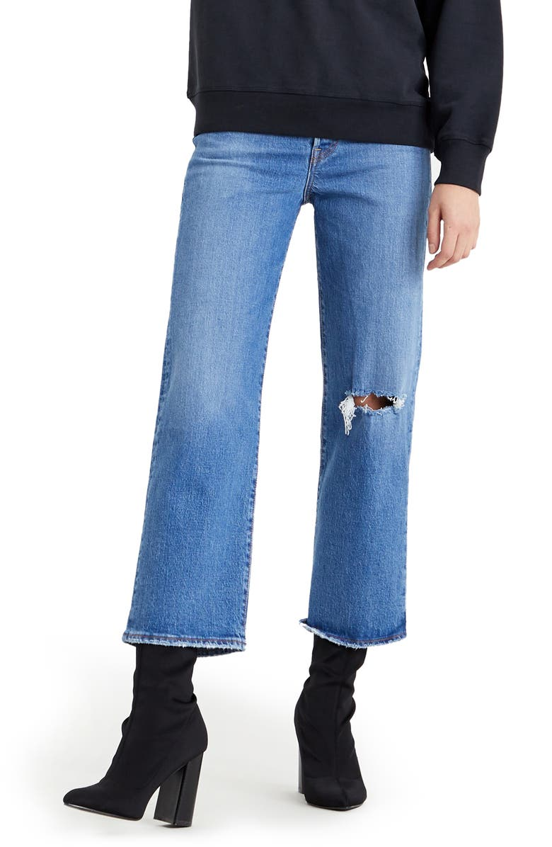 LEVI'S<SUP>®</SUP> Ribcage Ripped High Waist Ankle Straight Leg Jeans, Main, color, JIVE BEATS