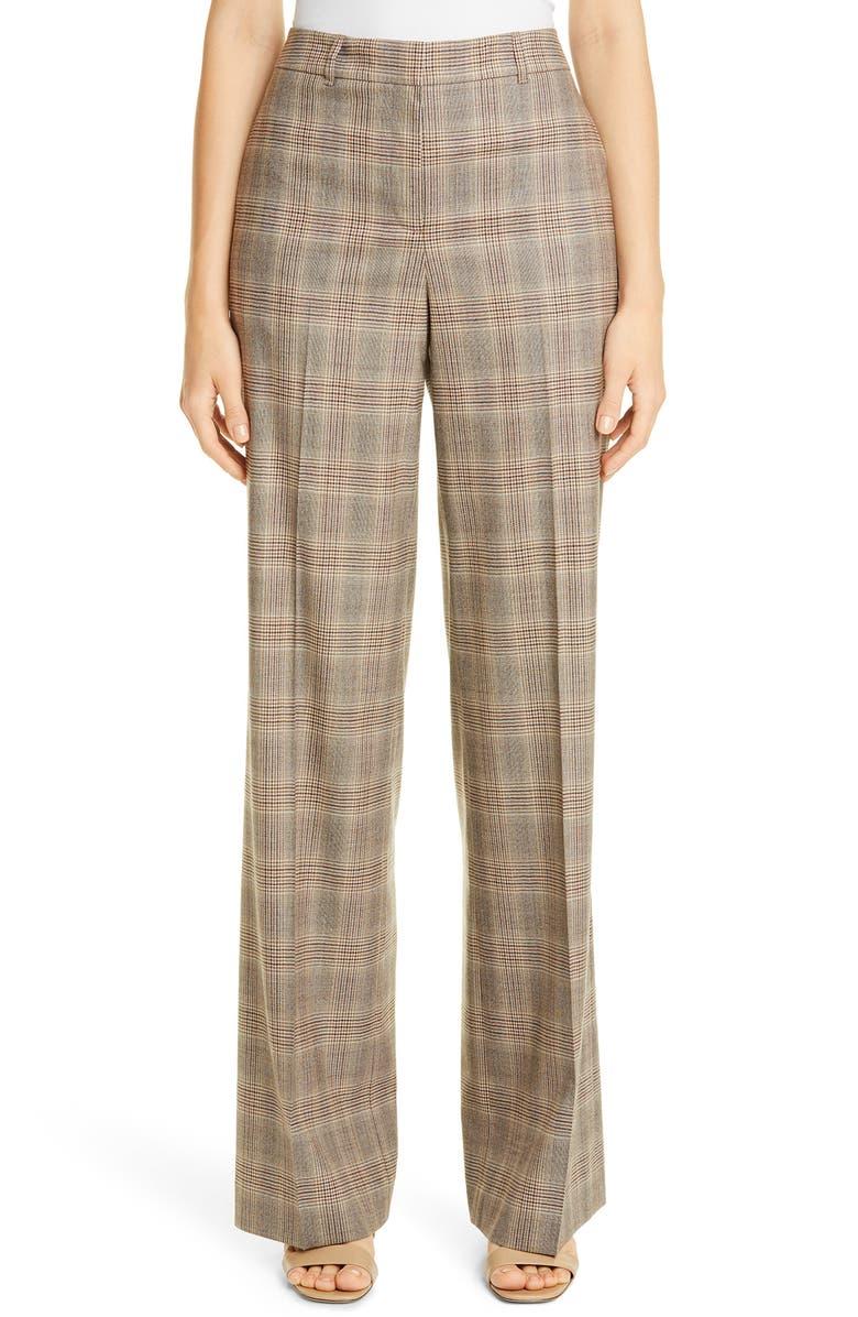LAFAYETTE 148 NEW YORK Dalton Stretch Wool Wide Leg Pants, Main, color, TRUFFLE MULTI