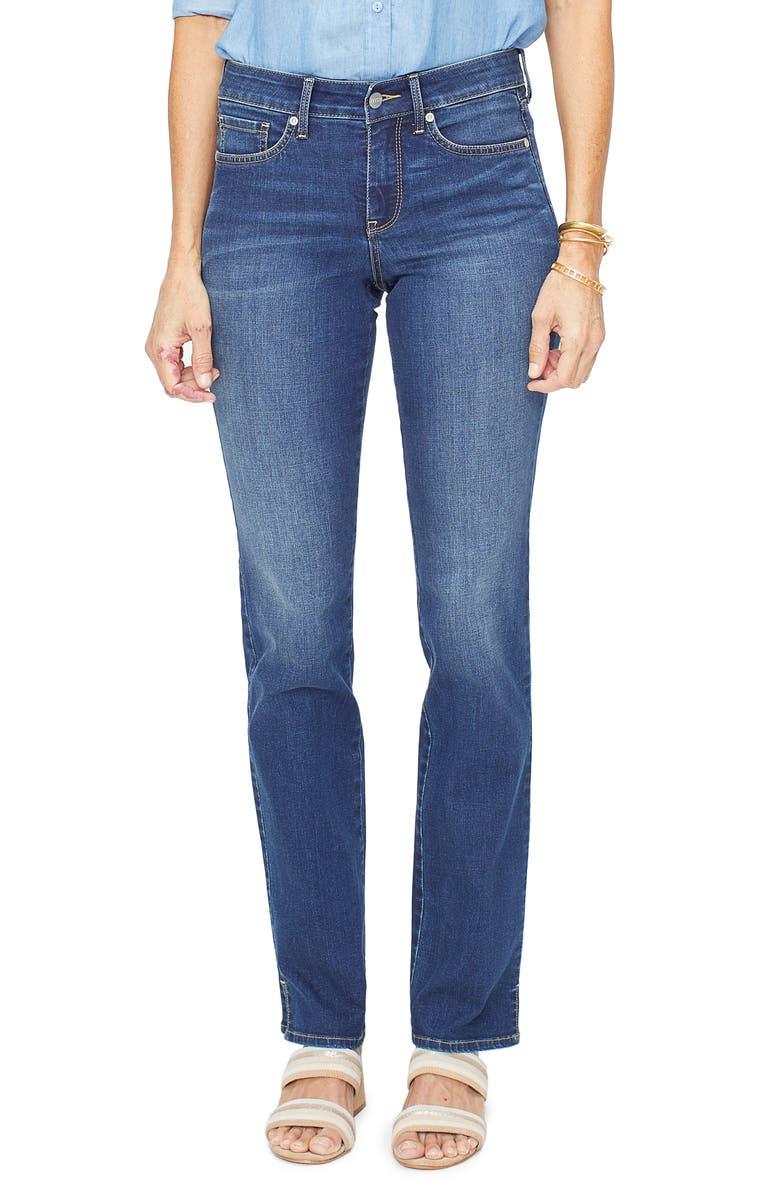 NYDJ Marilyn High Waist Slit Cuff Straight Leg Jeans, Main, color, JUNIPERO