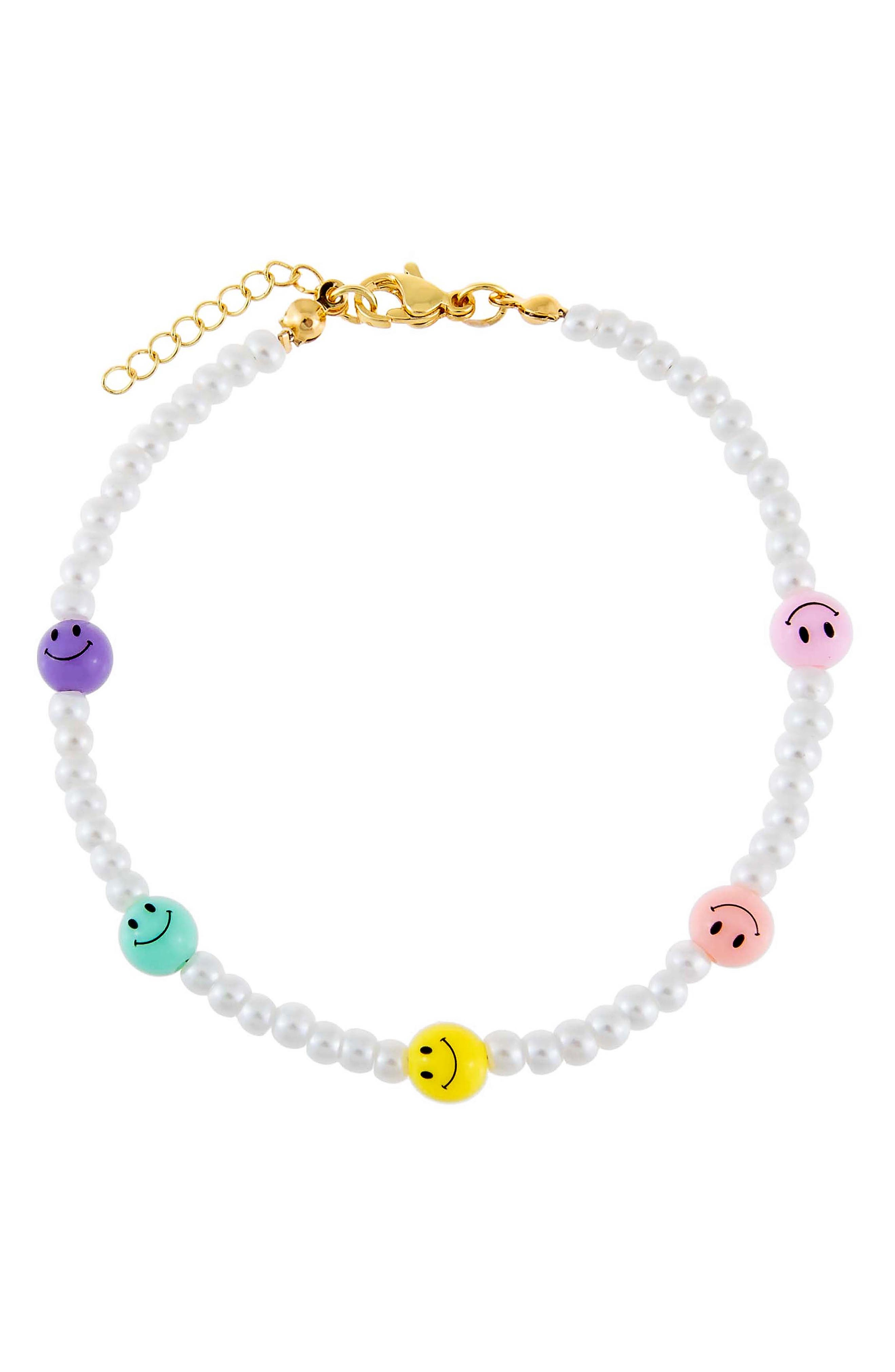 Women's Adina's Jewels Smiley Face & Imitation Pearl Anklet