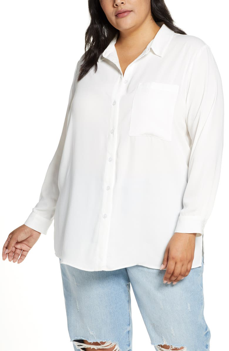 ELOQUII R29 x ELOQUII Relaxed Button Up Blouse, Main, color, SOFT WHITE