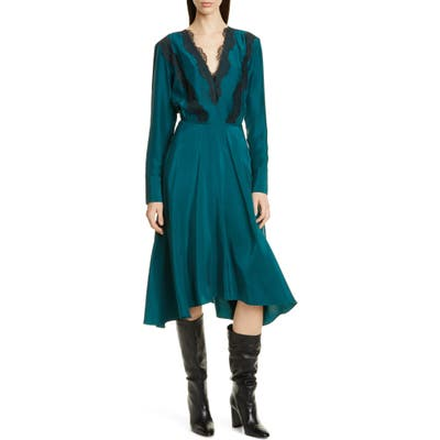 Jason Wu Floral Lace Trim Long Sleeve Silk Dress, Green