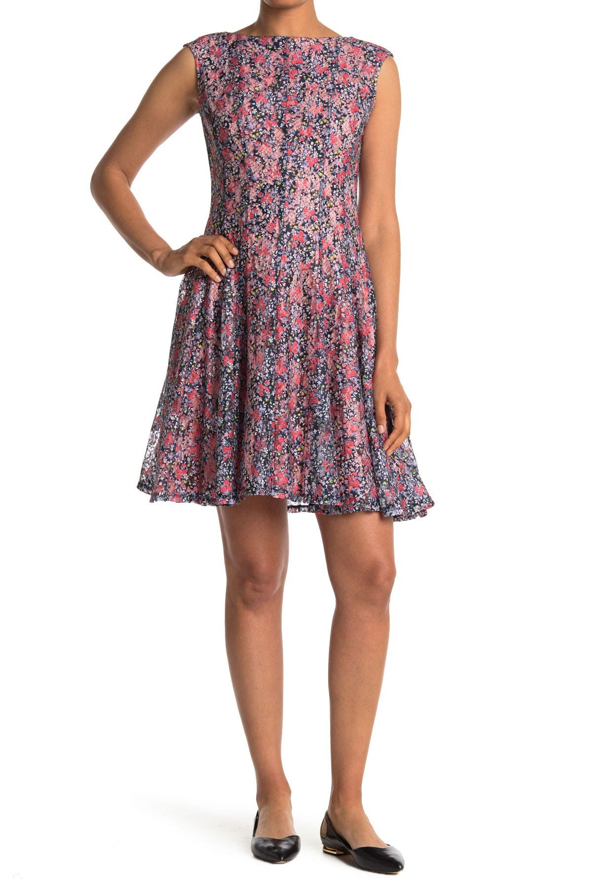 Image of DANNY & NICOLE Cap Sleeve Ditsy Floral Lace Dress