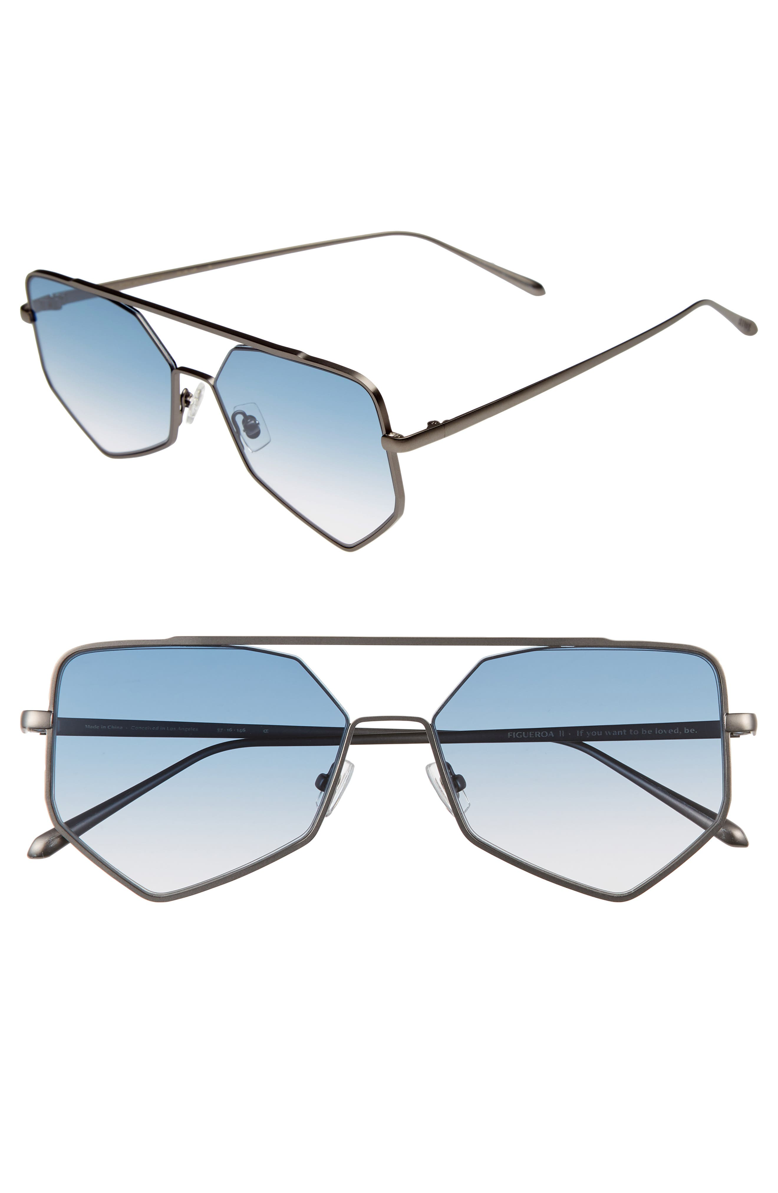 Figueroa II 57mm Aviator Sunglasses, Main, color, BLUE GRADIENT