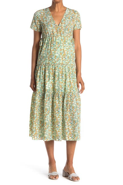 Image of SEE THE SHADES V-Neck Cinched Side Floral Midi Dress