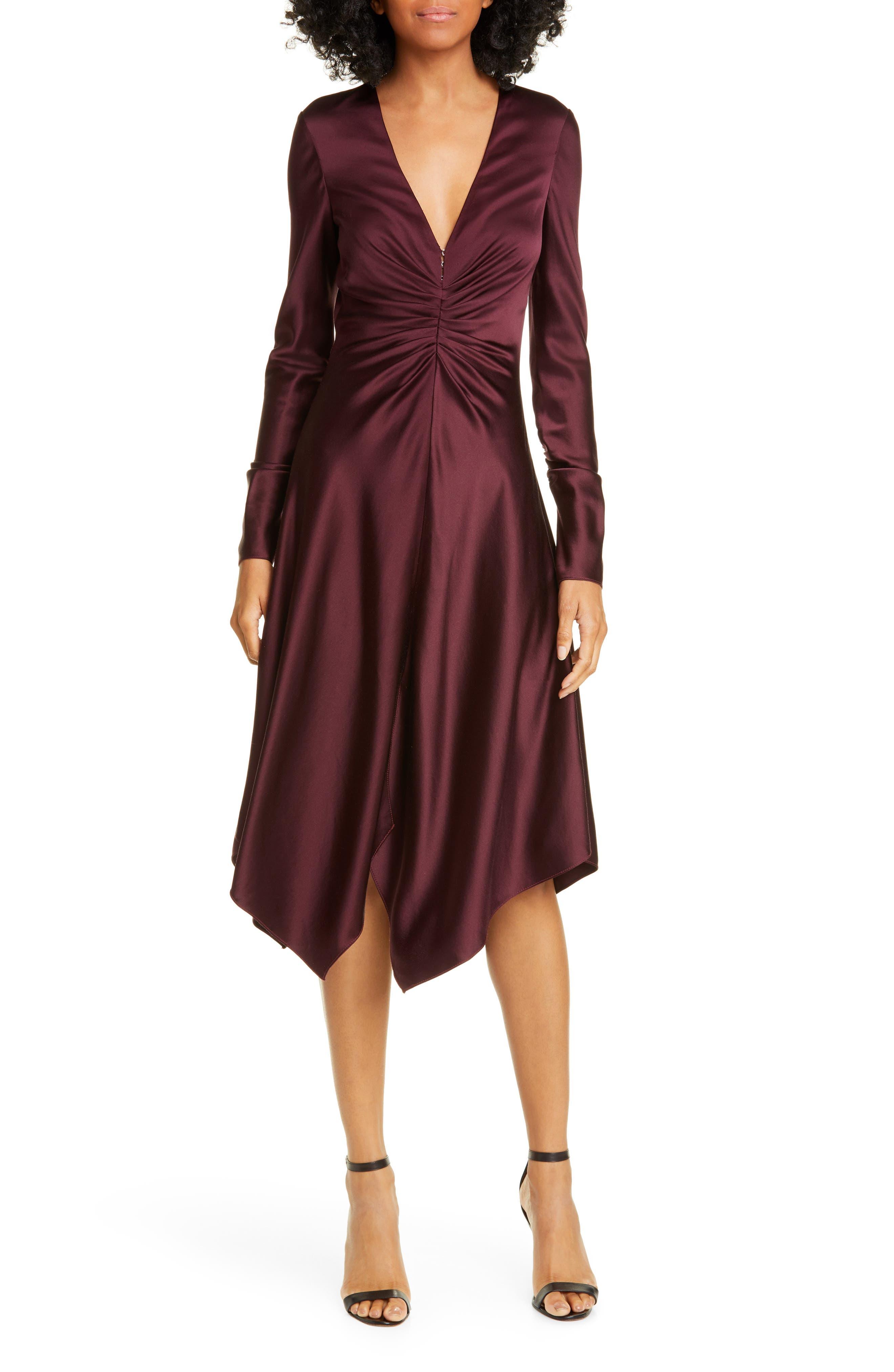Jonathan Simkhai Dresses Crepe Back Satin Long Sleeve Handkerchief Dress