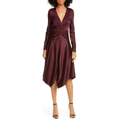 Jonathan Simkhai Crepe Back Satin Long Sleeve Handkerchief Dress, Brown