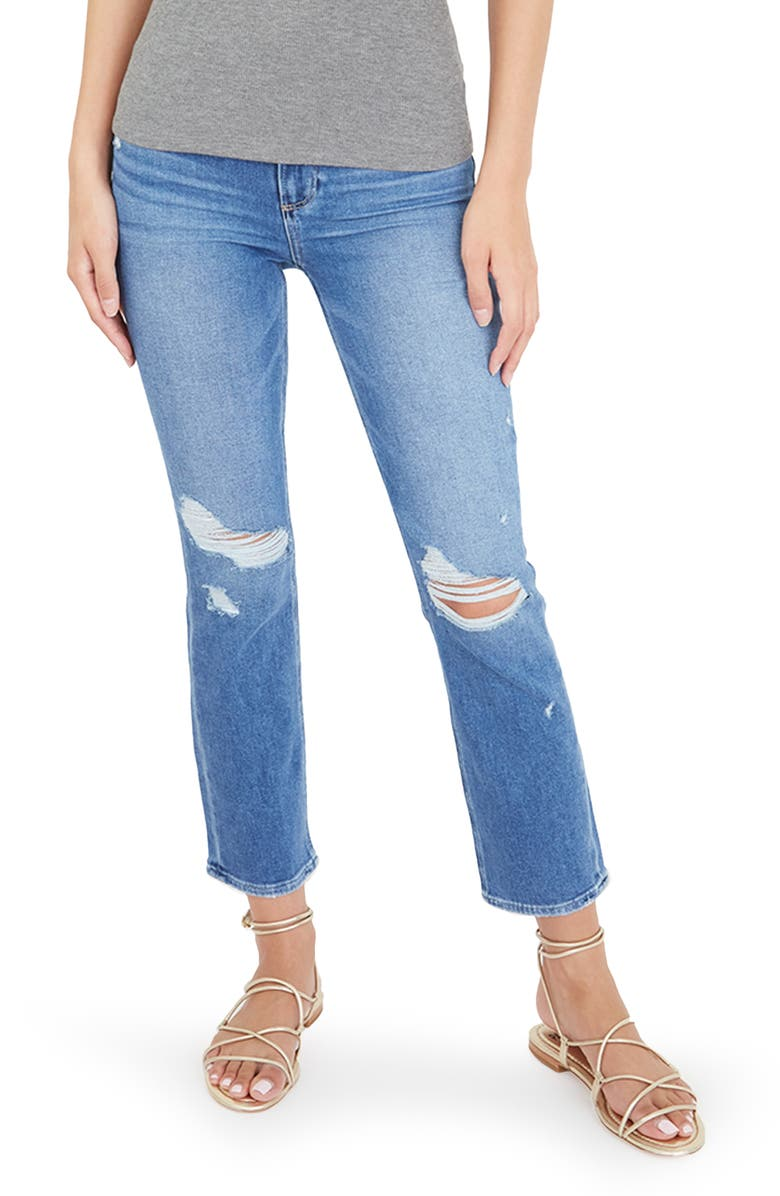 PAIGE Cindy Ripped Crop Straight Leg Jeans, Main, color, BAAZAR DESTRUCTED