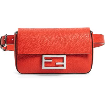 Fendi Calfskin Leather Belt Bag - Red
