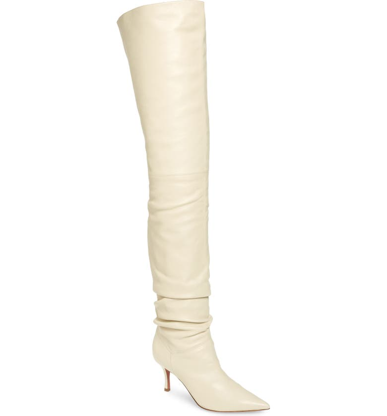 AMINA MUADDI Barbara Ruched Over the Knee Boot, Main, color, IVORY LEATHER