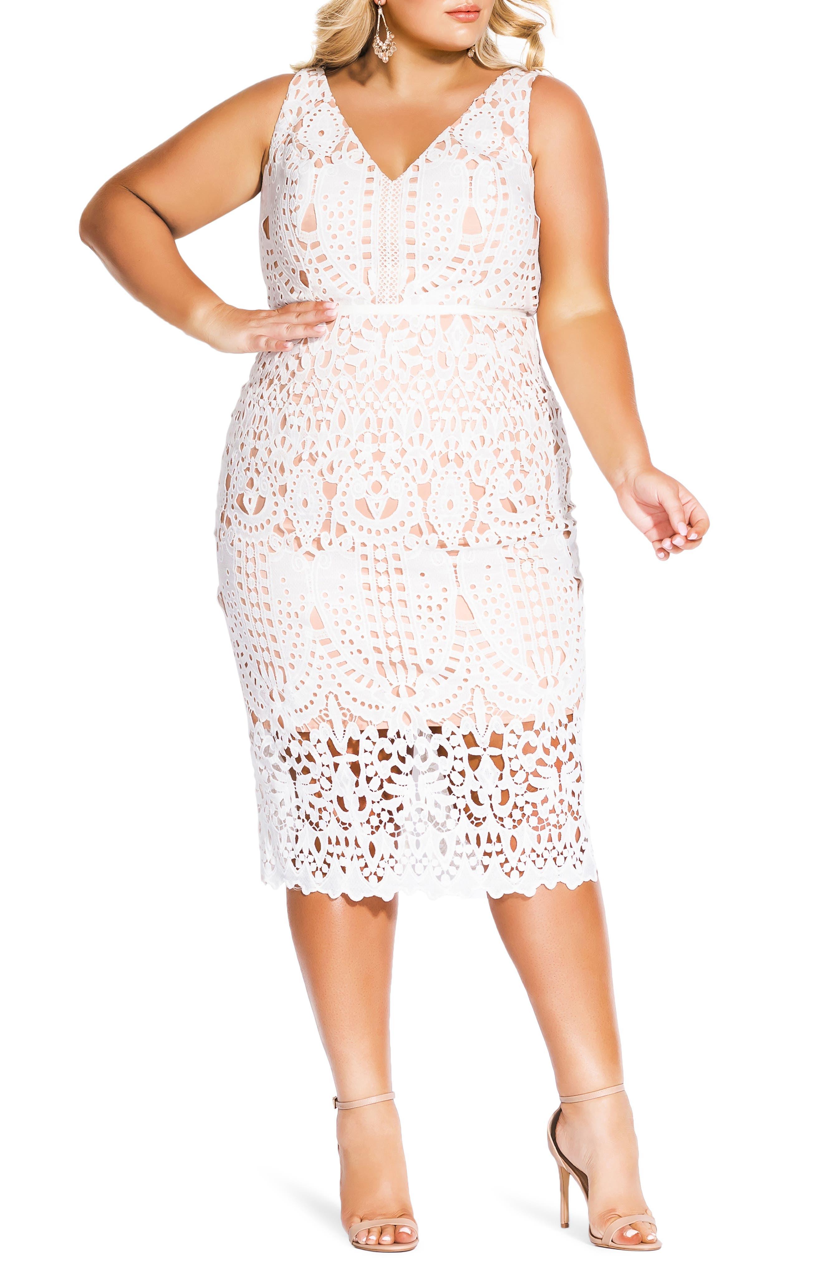 Plus Size City Chic All Class Lace Sheath Dress, White